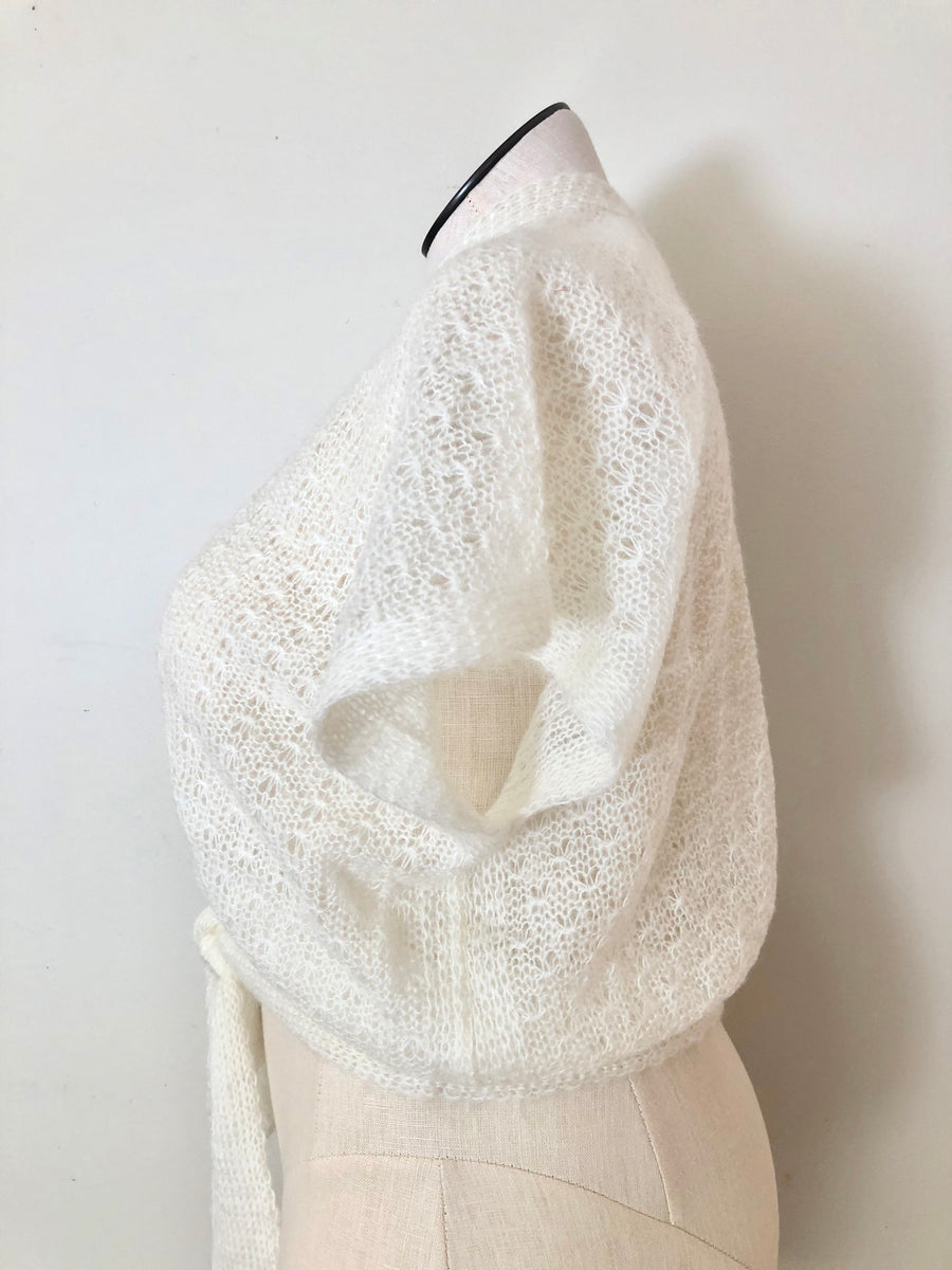 70's White Wrap Sweater - Size S/M/L