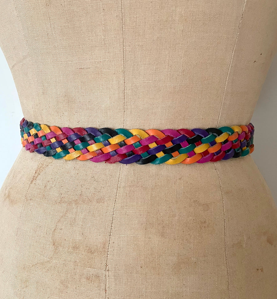 80's Rainbow Braided Leather Belt