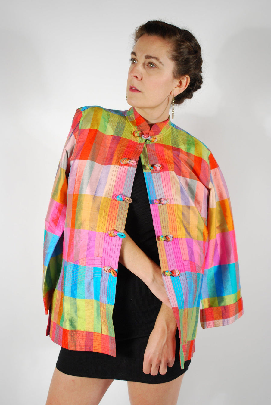 Rainbow Blazer Jacket - Thai Silk Jacket - Size M