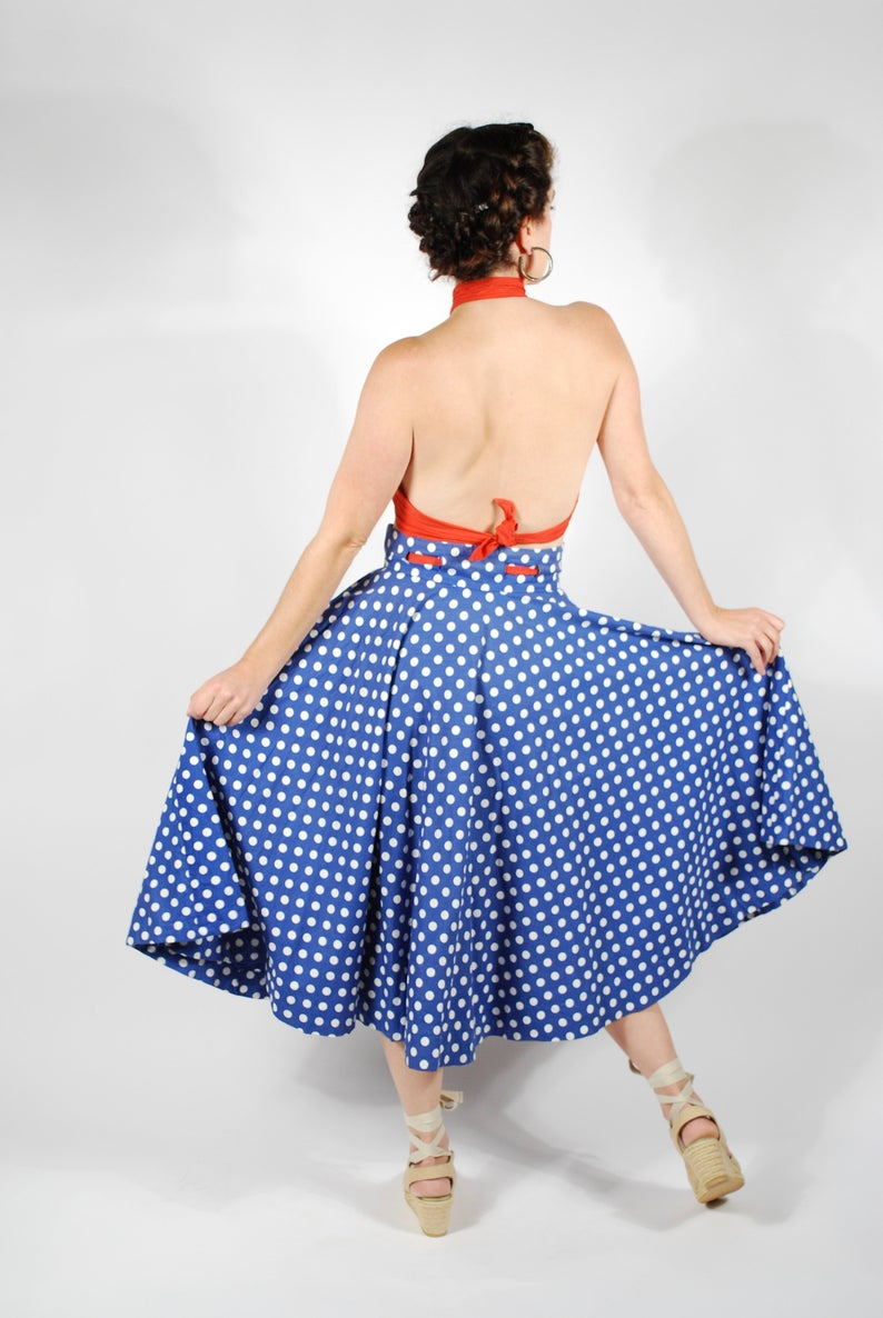 1950's Polka Dot Circle Skirt - 50's Skirt & Wrap Top Set - Size Small