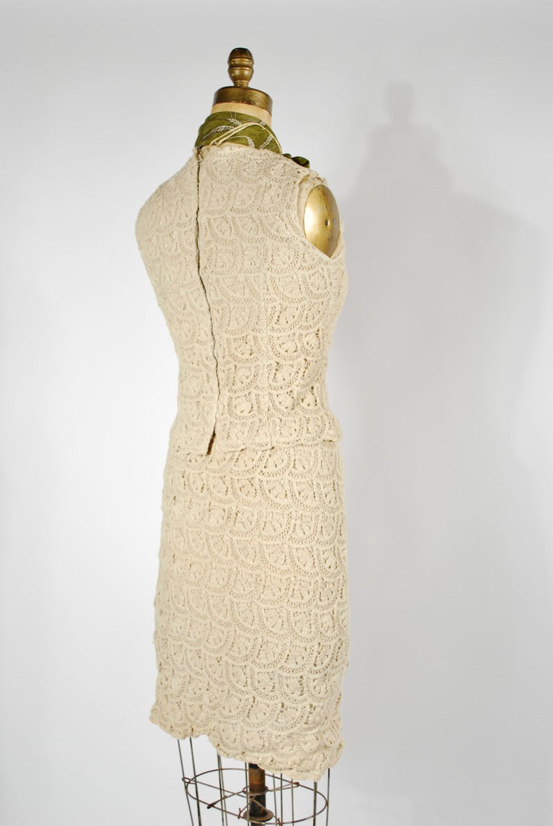 1960's Crochet Skirt Set - 60's 2 Pc Cream Fall Set - Size XS