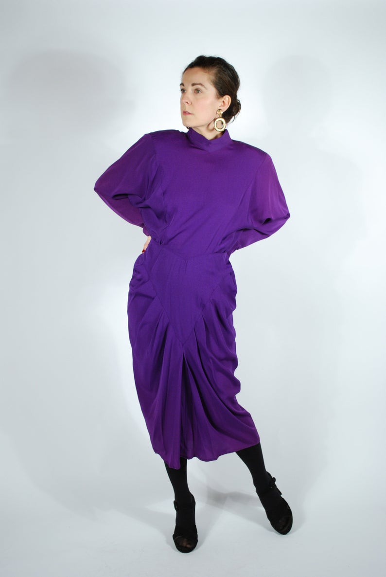 1980's does 1940's Purple Draped Dress - Purple Cocktail Dress - Open Back Dress - Size M