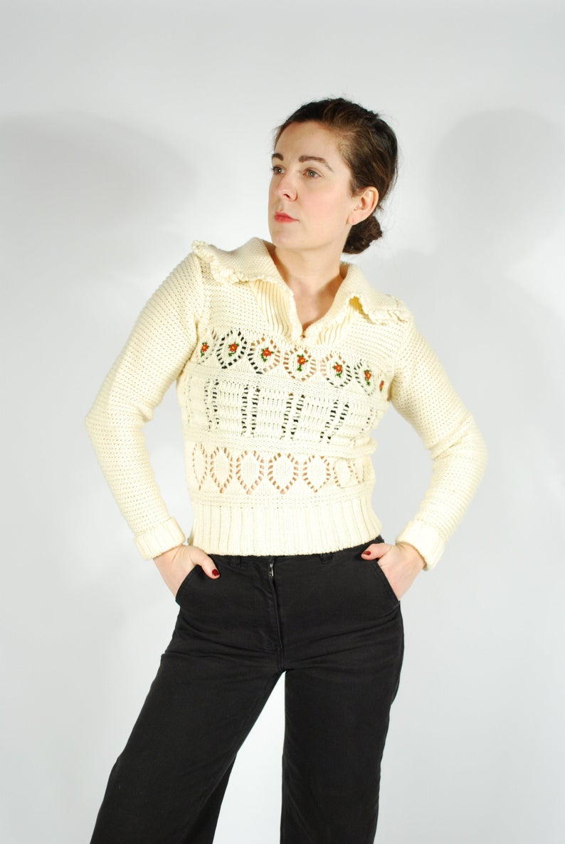 1970's Cream Knit Sweater - 70's Embroidered Sweater - Size Small