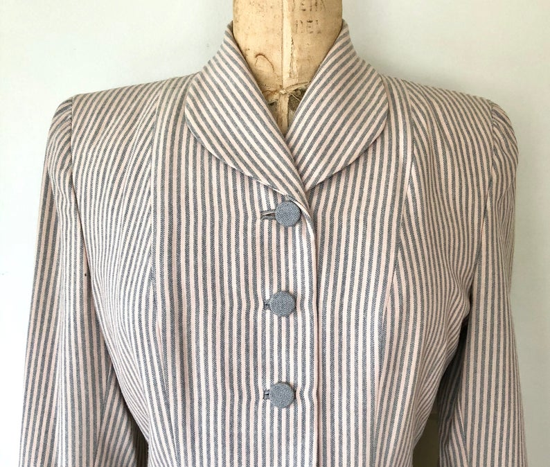 Vintage 1940's Pinstripe Blazer - 40's Pink & Gray Fitted Jacket - Size M
