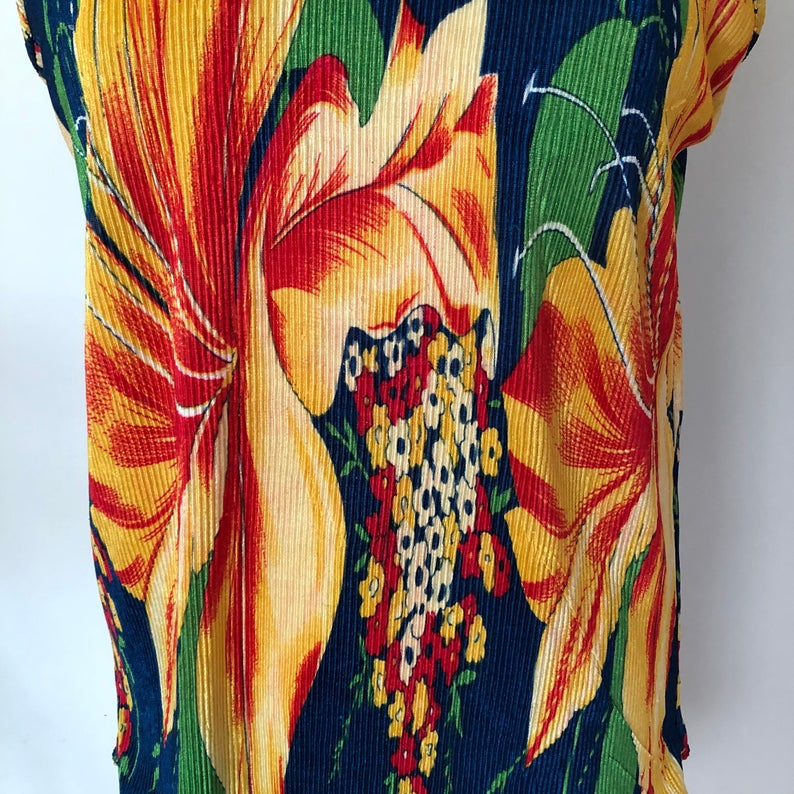 90's Floral Print Ribbed Tank Top - Size L/XL