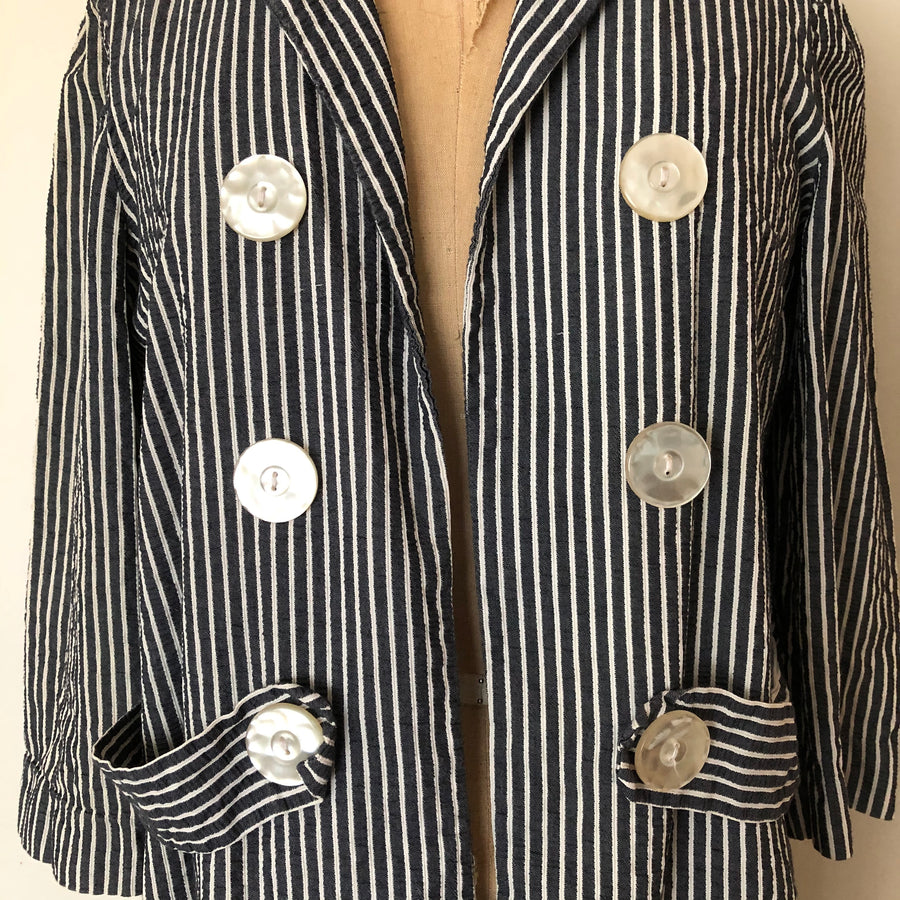 1960's Striped Seersucker Jacket - Size M