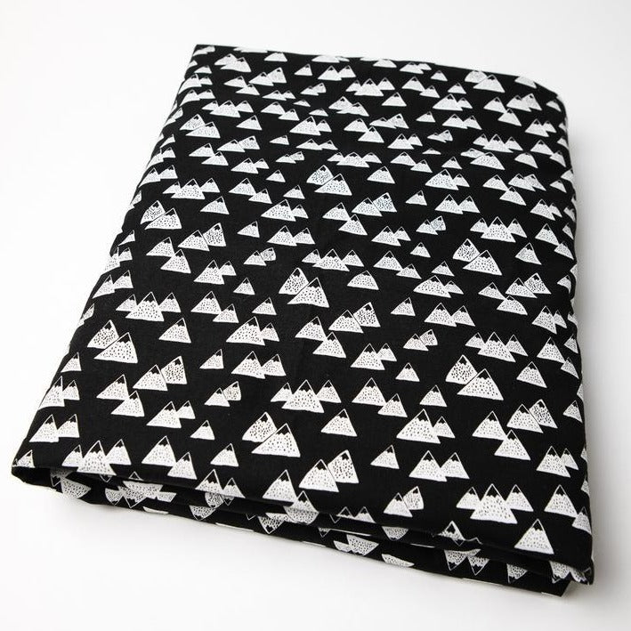 Olli + Lime Mountain Fitted Crib Sheet Black And White