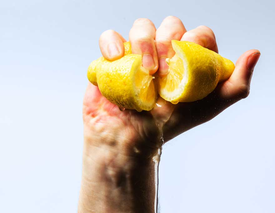 Bitter Lemon being squeezed