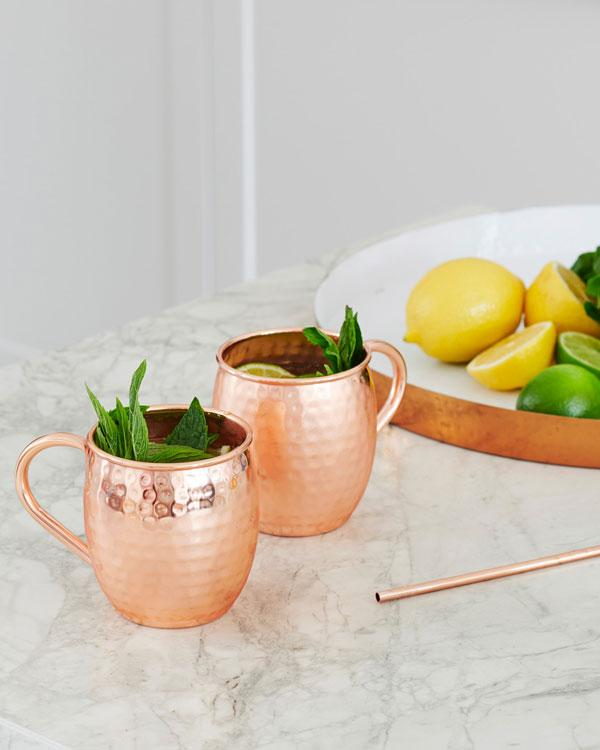 Hammered Copper Cocktail Mugs (Pair)