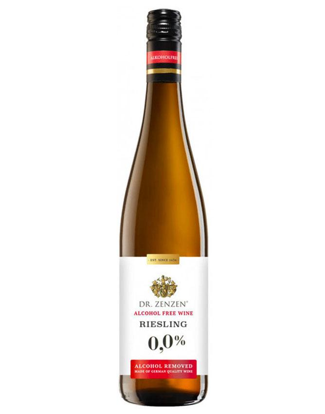 Bottle of Riesling white wine without alcohol