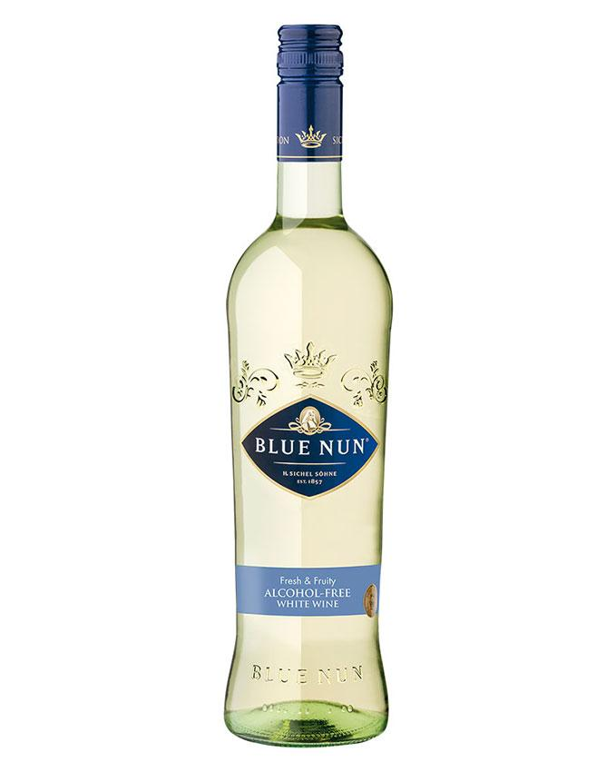 Bottle of Alcohol-Free White Wine from Blue Nun