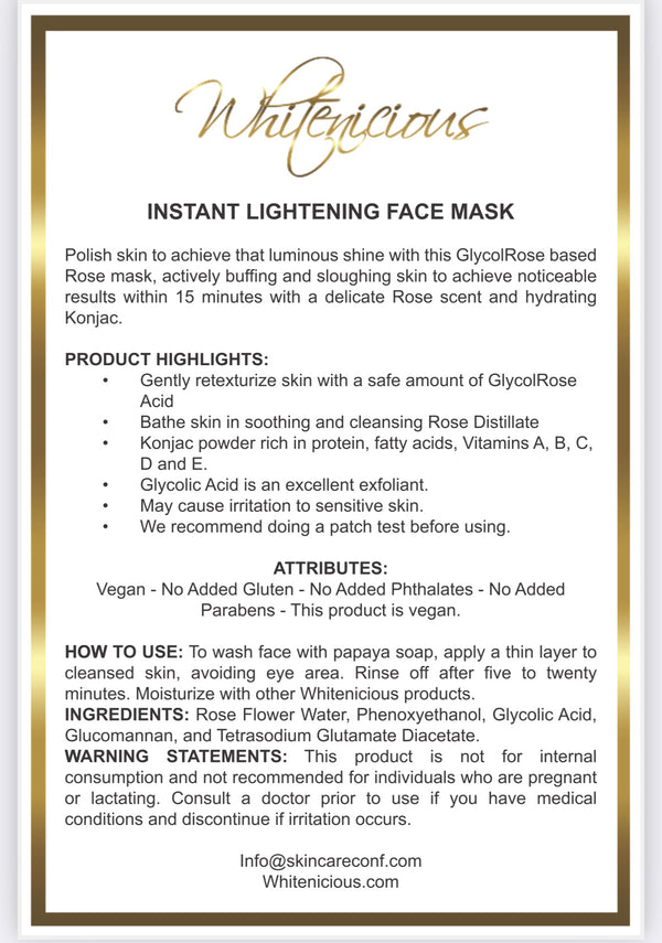 Hollywood Instant Lightening Face mask