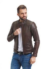 Men's Washed Moto Jacket - Leather Renaissance