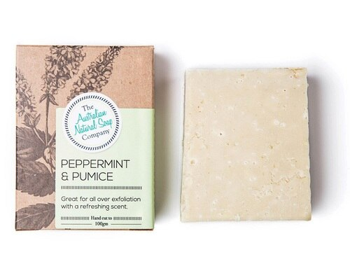 Australian peppermint and pumice exfoliation soap bar