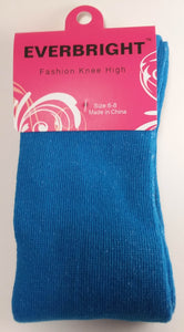 Children's Solid Blue Knee High Socks