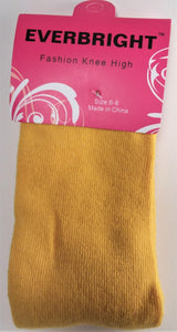 Children's Solid Yellow Knee High Socks