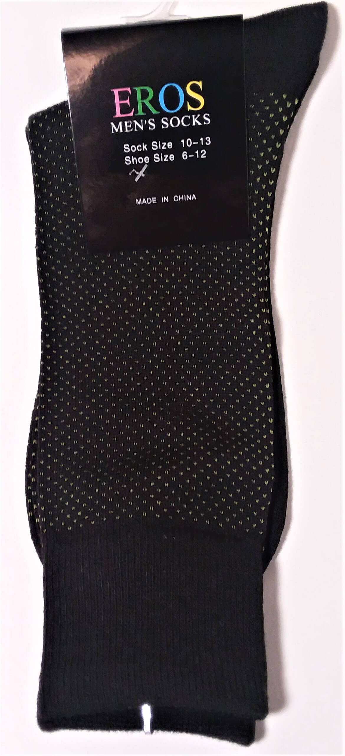 Men's Casual Crew Socks.Black with white dots