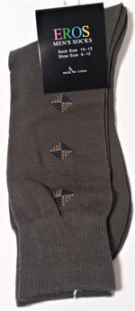 Load image into Gallery viewer, Men's Casual Crew Socks.Dark Green with tan and blue diamonds