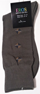 Men's Casual Crew Socks.Dark Green with tan and blue diamonds