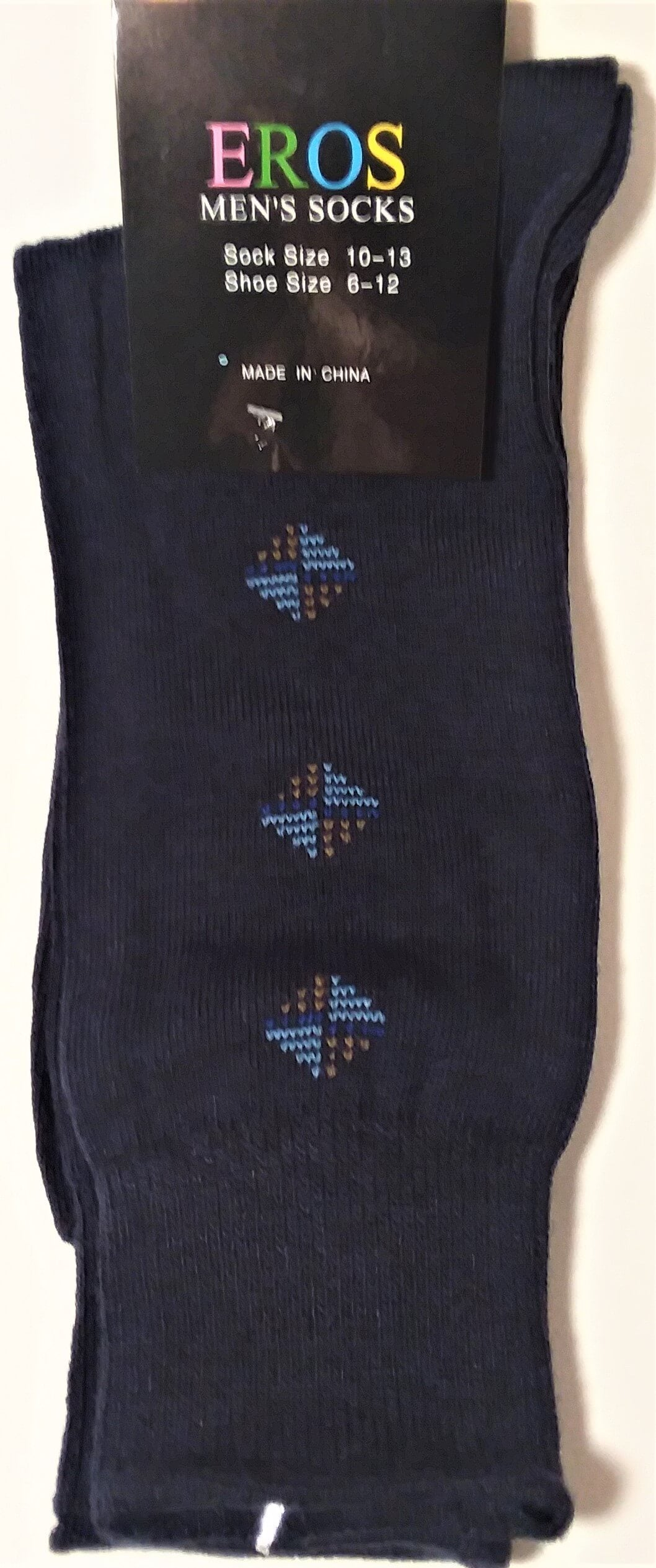 Men's Casual Crew Socks.Dark Blue with Brown and Blue Diamonds