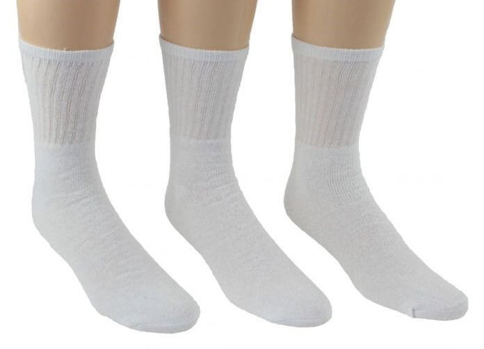 Men's White Athletic Crew Socks