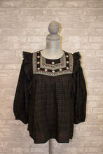 Load image into Gallery viewer, Ally Black Ruffle Shirt