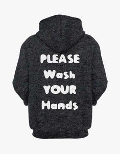 Wash Your Hands Hoodie (Dark Grey Melange)