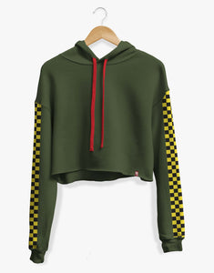 Cropped Checkered Hoodie (Olive)