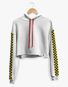 Cropped Checkered Hoodie (White)