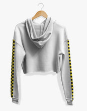 Load image into Gallery viewer, Cropped Checkered Hoodie (White)
