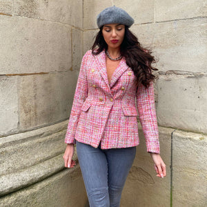 veste tweed rose