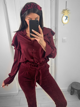 Load image into Gallery viewer, Pantalon velours bordeaux