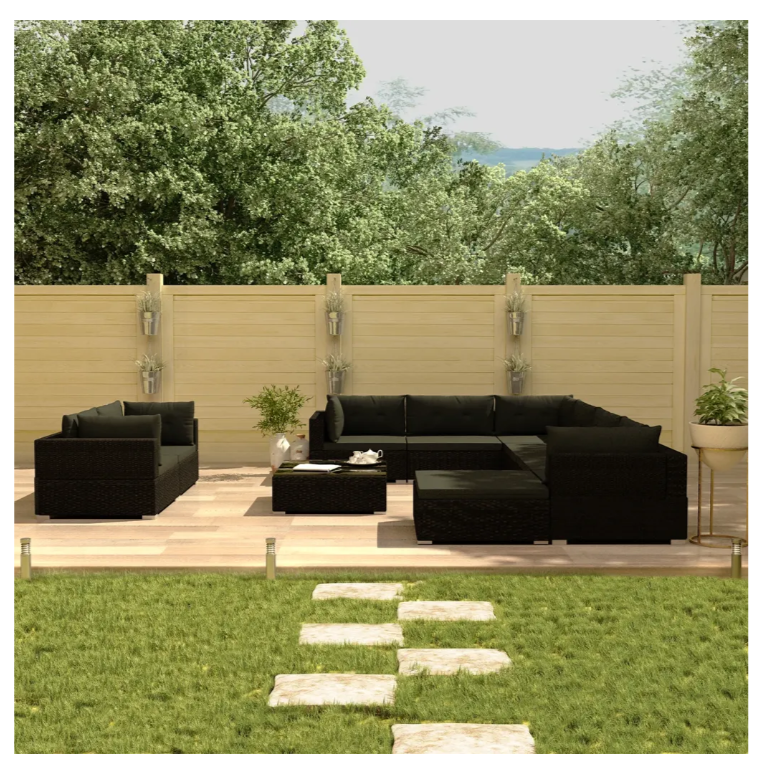 LuxerLiving™ Outdoor Patio Furniture Lounge Set Sofa Chairs Table Black