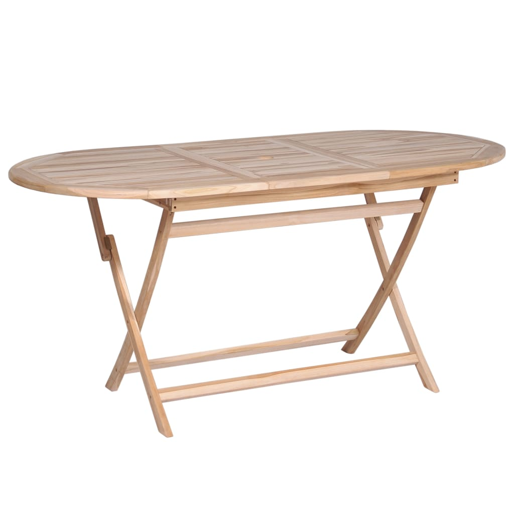 LuxerLiving™ Foldable Dining Table Solid Teak Wood 160x80x75 cm