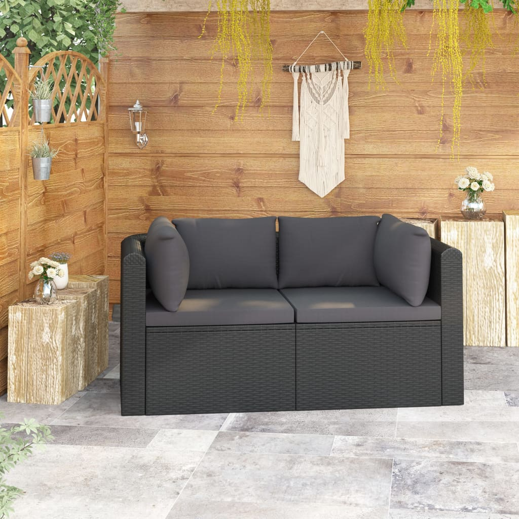 LuxerLiving™ 2 Piece Garden Sofa Set with Cushions Poly Rattan Black