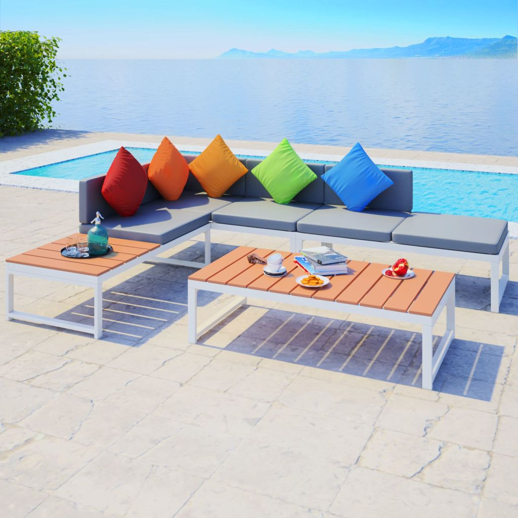 LuxerLiving™ Outdoor Patio Furniture Set With Lounge Sofa and Table Aluminium