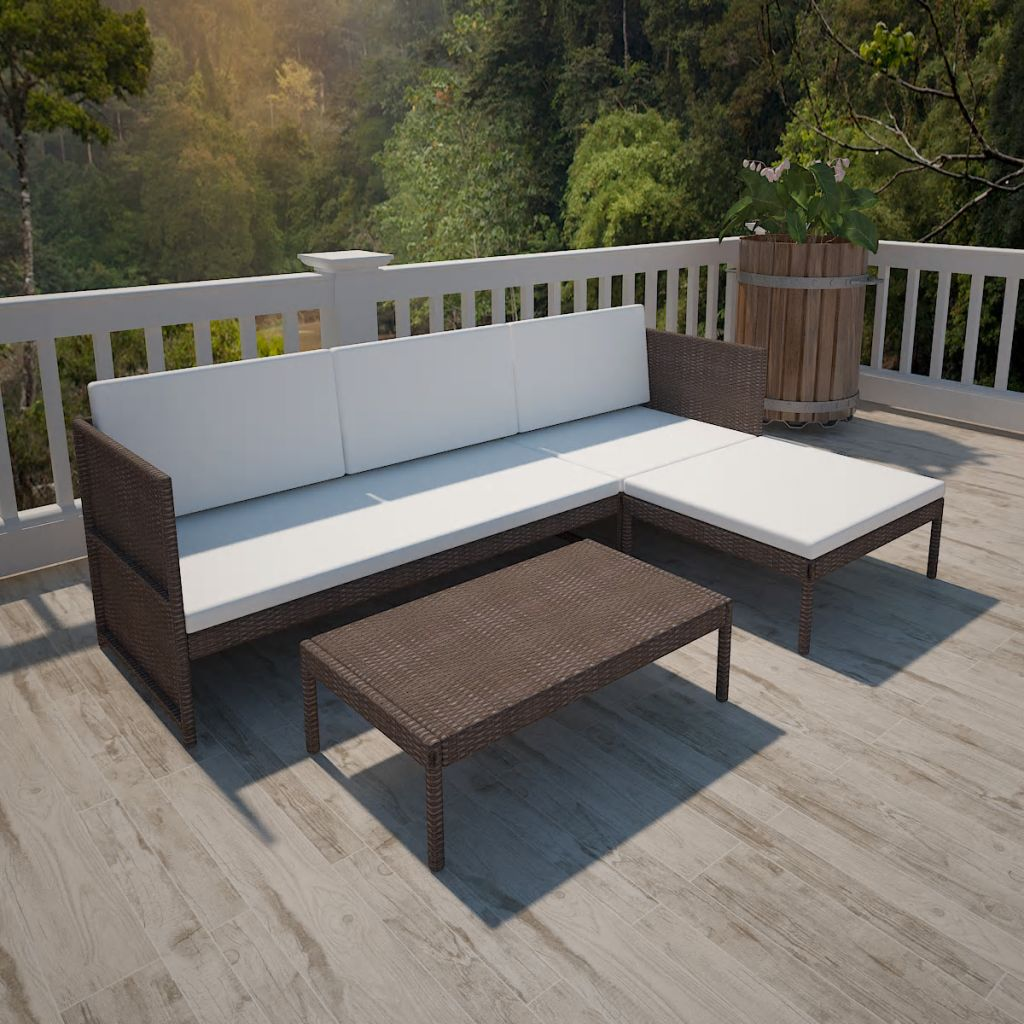 LuxerLiving™ 3 Piece Garden Lounge Set with Cushions Poly Rattan Brown