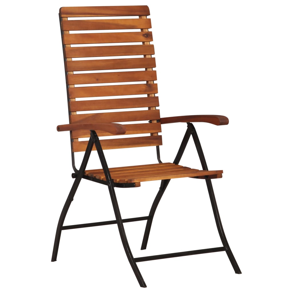 LuxerLiving™ 2 pcs Reclining Foldable Garden Chairs Solid Acacia Wood