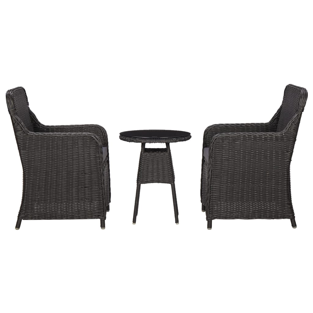 LuxerLiving™ 3 Piece Garden Bistro Set with Cushions Poly Rattan Black