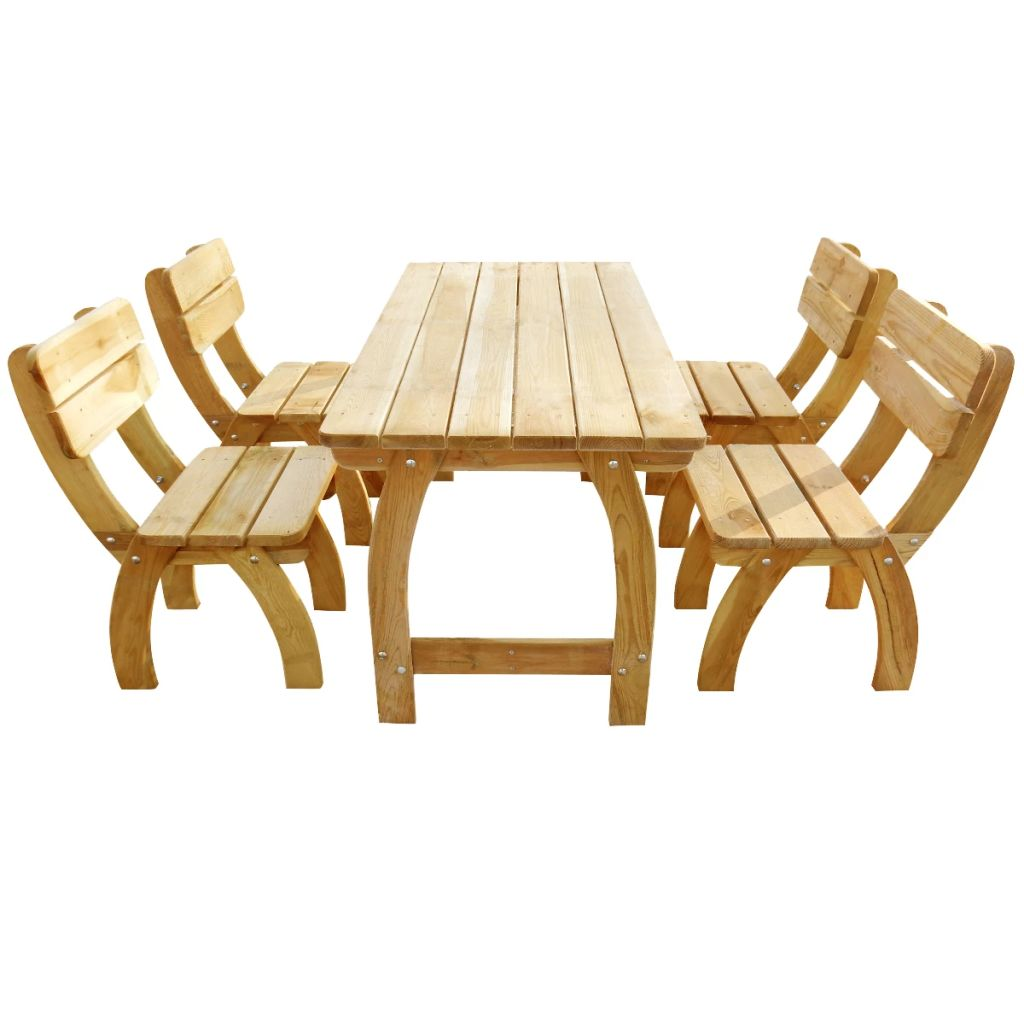 LuxerLiving™  5 Piece Outdoor Dining Set Impregnated Pinewood