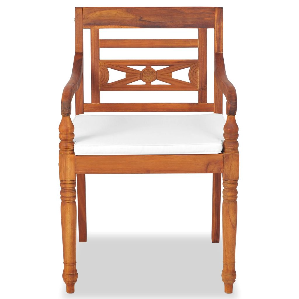 LuxerLiving™ Batavia Chairs 2 pcs with Cushions Solid Teak Wood