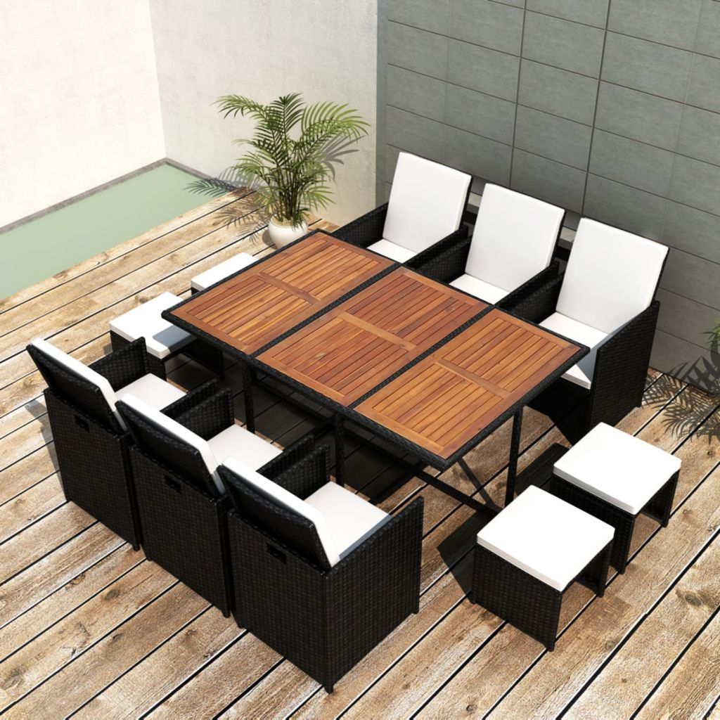 LuxerLiving™ 11 Piece Outdoor Rattan Dining Table Garden Patio Furniture Set