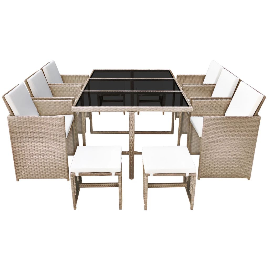 LuxerLiving™ 11 Piece Outdoor Dining Set with Cushions Poly Rattan Beige