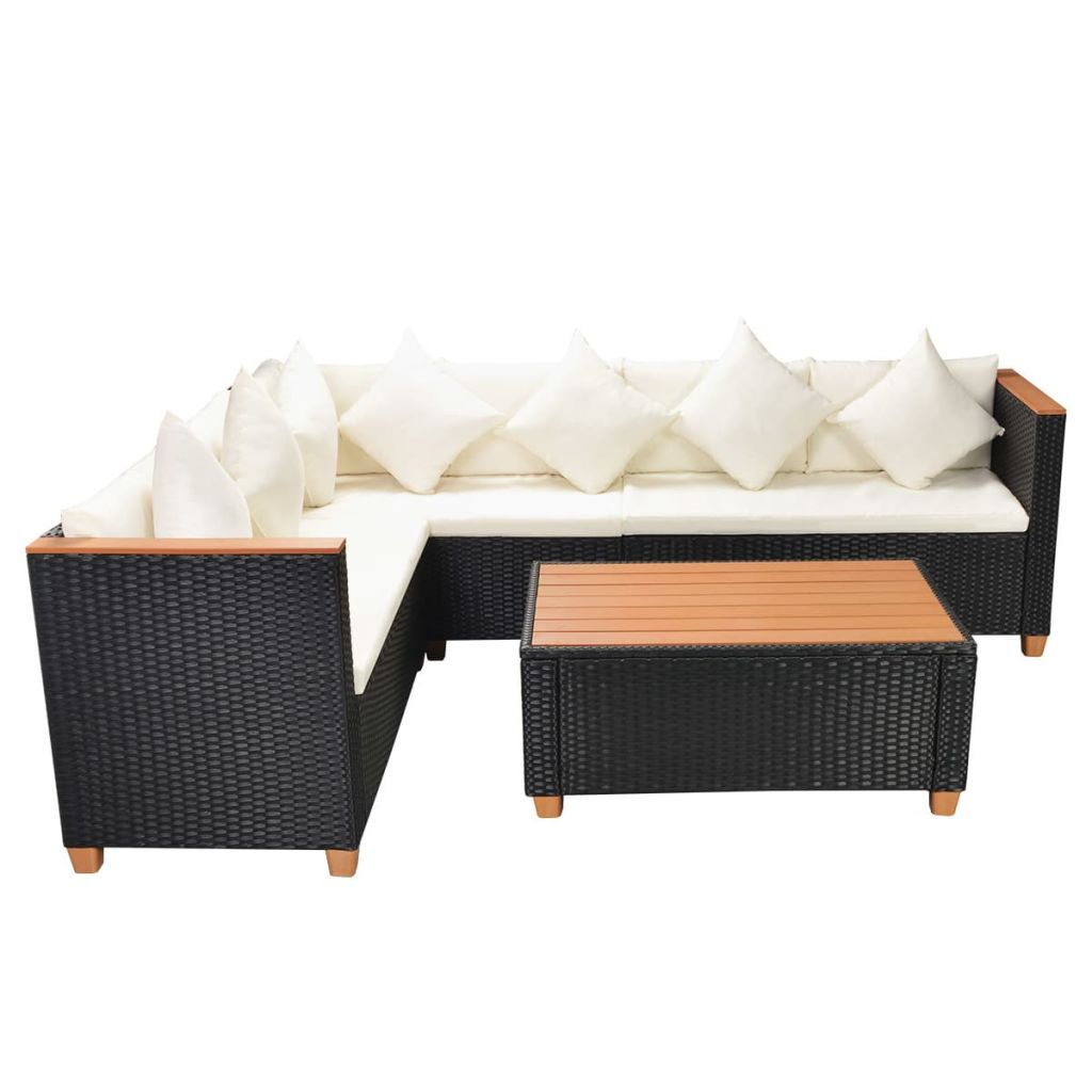 LuxerLiving™ 4 Piece Garden Lounge Set with Cushions Poly Rattan Black