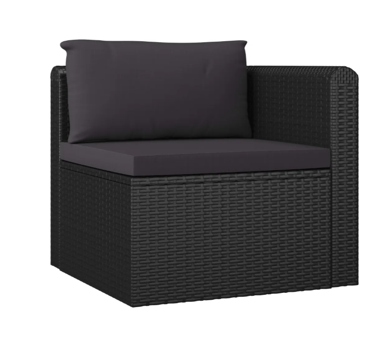 LuxerLiving™ 3 Piece Garden Sofa Set with Cushions Poly Rattan Black
