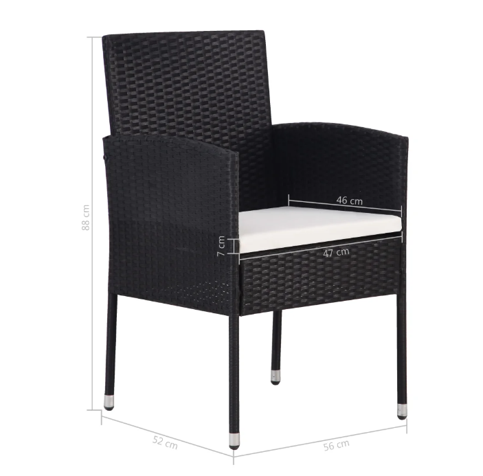 LuxerLiving™ Garden Chair 2 pcs Poly Rattan Black