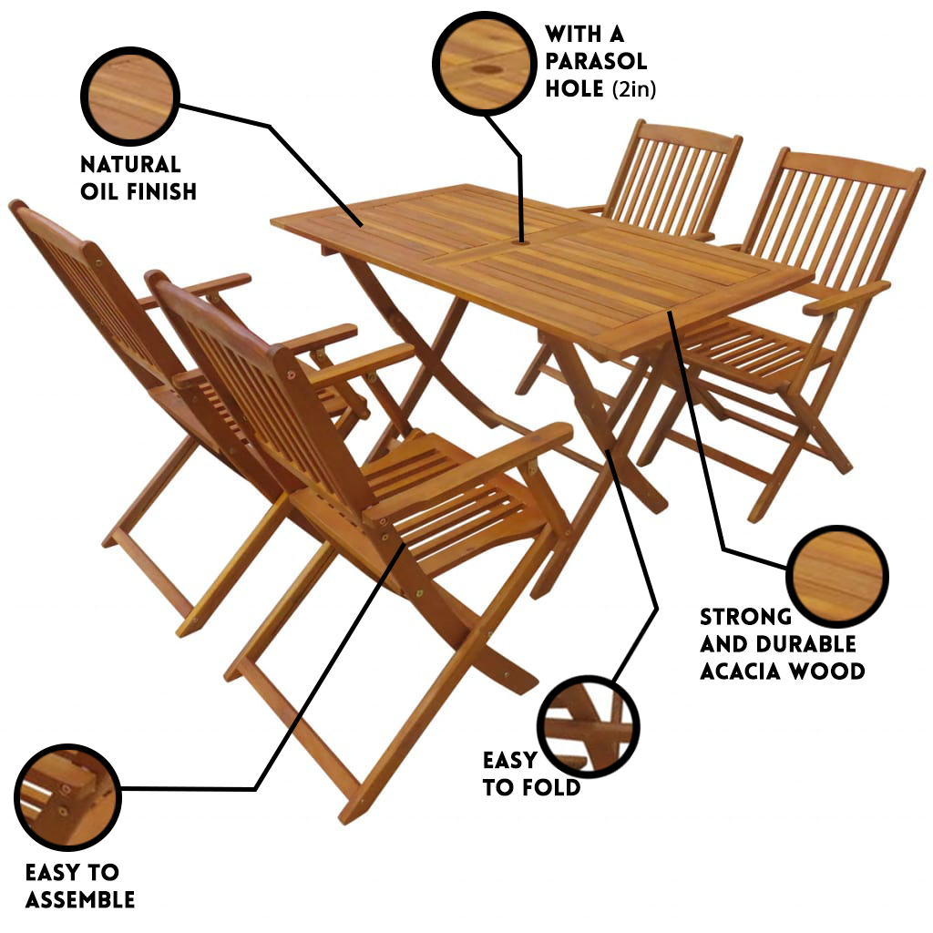 LuxerLiving™ Outdoor Wooden Dining Table 5 piece Patio Furniture Set