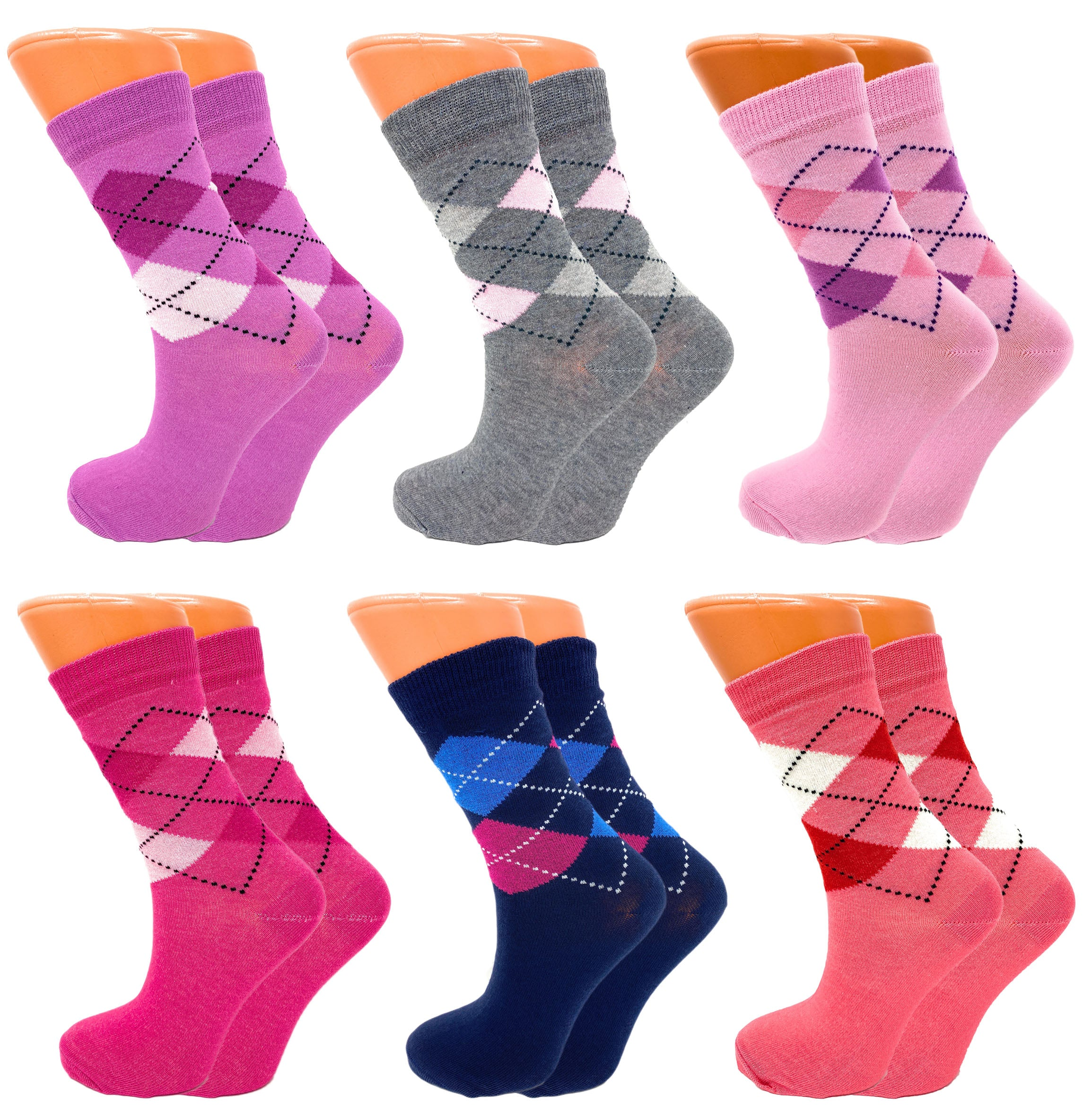 Details about  /Luxury Combed Cotton Crew Socks for Women Colorful 6 Pairs Size 9-11