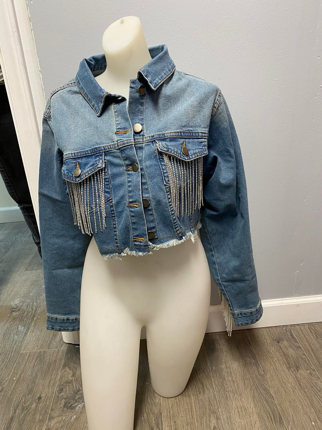 Jean Jacket with Sparkle Fringe