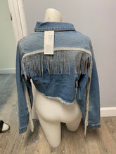 Load image into Gallery viewer, Jean Jacket with Sparkle Fringe